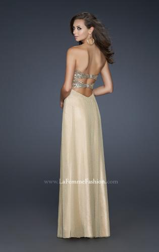 Picture of: Floor Length Metallic Jersey Prom Dress with Sequins, Style: 16977, Back Picture