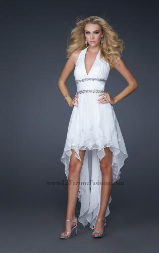 Picture of: High Low Prom Gown with Plunging V Halter Top, Style: 16986, Main Picture