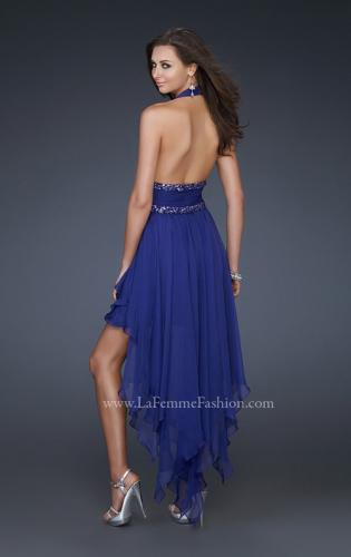 Picture of: High Low Prom Gown with Plunging V Halter Top, Style: 16986, Back Picture
