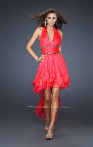 Picture of: High Low Prom Gown with Plunging V Halter Top, Style: 16986, Detail Picture 1