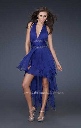 Picture of: High Low Prom Gown with Plunging V Halter Top, Style: 16986, Detail Picture 2