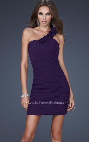 Picture of: Net Black Short Dress with One Shoulder Flower Detail, Style: 16993, Main Picture