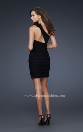 Picture of: Net Black Short Dress with One Shoulder Flower Detail, Style: 16993, Back Picture