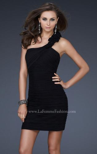 Picture of: Net Black Short Dress with One Shoulder Flower Detail, Style: 16993, Detail Picture 1