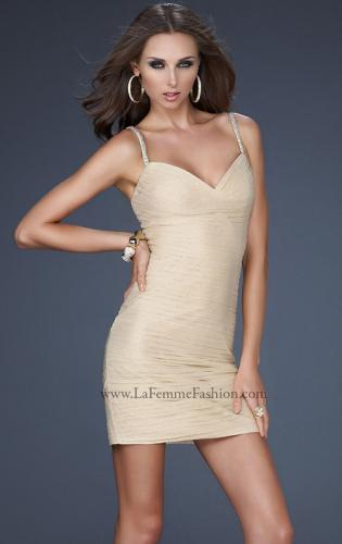 Picture of: Spaghetti Strap Cocktail Dress with Metallic Net Detail, Style: 16994, Main Picture