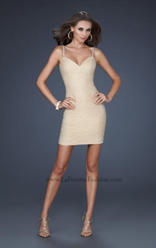 Picture of: Spaghetti Strap Cocktail Dress with Metallic Net Detail, Style: 16994, Detail Picture 2