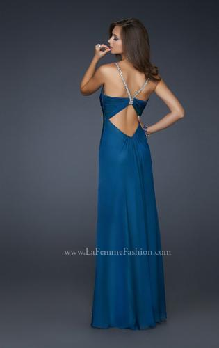 Picture of: Floor Length Chiffon Prom Gown with Stones and Cut Outs, Style: 17019, Back Picture