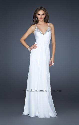 Picture of: Floor Length Chiffon Prom Gown with Stones and Cut Outs, Style: 17019, Detail Picture 1