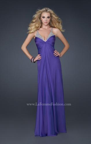Picture of: Floor Length Chiffon Prom Gown with Stones and Cut Outs, Style: 17019, Detail Picture 2