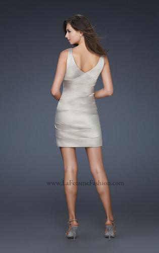 Picture of: Sultry Satin Cocktail Dress with V Neckline and Pleats, Style: 17022, Back Picture