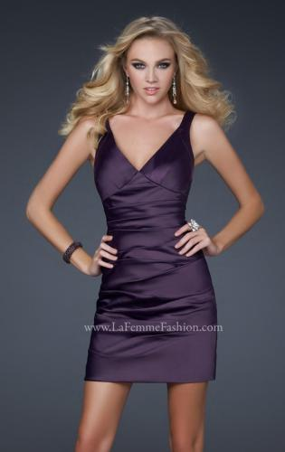 Picture of: Sultry Satin Cocktail Dress with V Neckline and Pleats, Style: 17022, Detail Picture 1