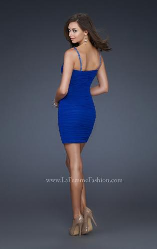 Picture of: Short Net Cocktail Dress with Scoop Neck and Jewels, Style: 17026, Back Picture