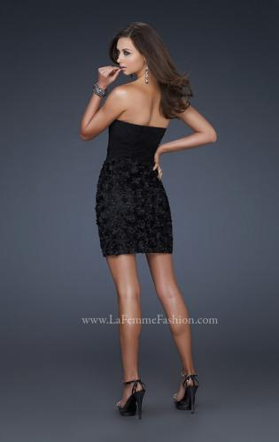 Picture of: Little Black Dress with Gathered Bust and Flower Details, Style: 17033, Back Picture
