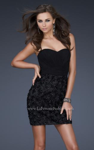 Picture of: Little Black Dress with Gathered Bust and Flower Details, Style: 17033, Detail Picture 1