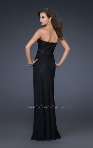 Picture of: Classy Black Prom Dress with Beaded Sweetheart Top, Style: 17036, Back Picture