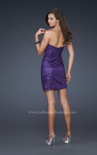 Picture of: Fully Sequined Short Dress with Sweetheart Neckline, Style: 17039, Back Picture