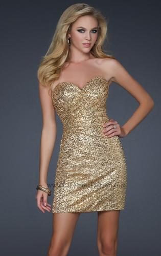 Picture of: Fully Sequined Short Dress with Sweetheart Neckline, Style: 17039, Detail Picture 1
