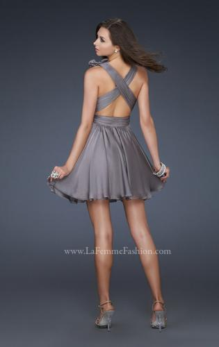 Picture of: Two Tone Chiffon Short Dress with Bows and Cut Outs, Style: 17044, Back Picture