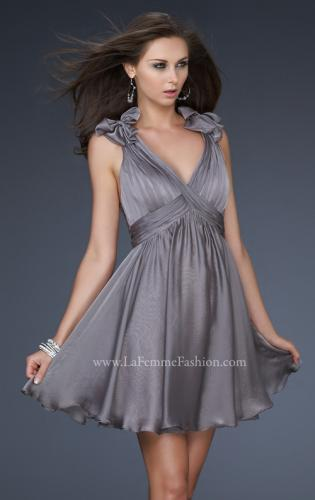 Picture of: Two Tone Chiffon Short Dress with Bows and Cut Outs, Style: 17044, Detail Picture 1