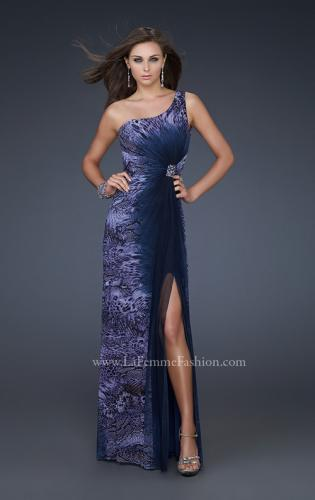 Picture of: Ombre Chiffon Prom Dress with Jeweled Embellishments, Style: 17049, Main Picture