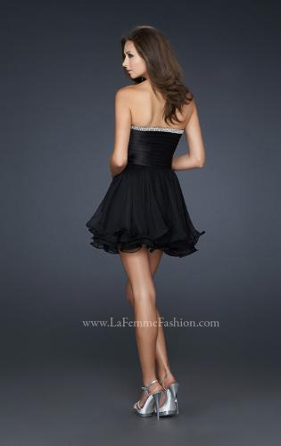 Picture of: Short Satin and Chiffon Dress with Rhinestone Top, Style: 17054, Back Picture