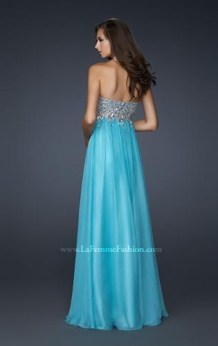 Picture of: Long Strapless Chiffon Prom Dress with Full Gathered Skirt, Style: 17058, Back Picture