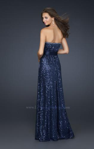 Picture of: Long Sequin Prom Dress with Satin Belt and Rhinestones, Style: 17059, Detail Picture 2