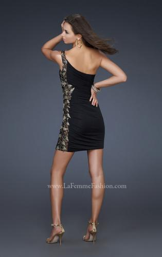 Picture of: Jersey Short Dress with Hand Painted Flower Design, Style: 17065, Back Picture
