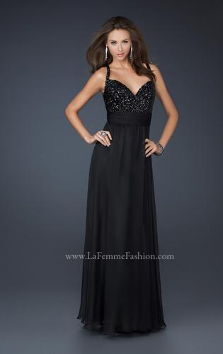 Picture of: Black Floor Length Dress with V Neck and Rhinestones, Style: 17071, Main Picture