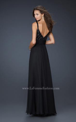 Picture of: Black Floor Length Dress with V Neck and Rhinestones, Style: 17071, Back Picture