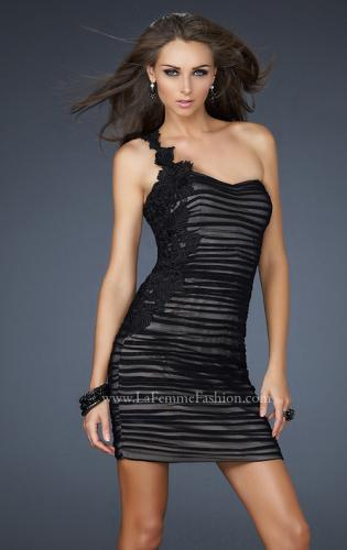 Picture of: One Strap Black Chiffon Short Dress with Appliques, Style: 17073, Main Picture