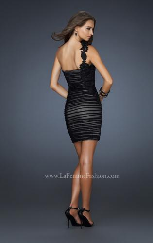 Picture of: One Strap Black Chiffon Short Dress with Appliques, Style: 17073, Back Picture