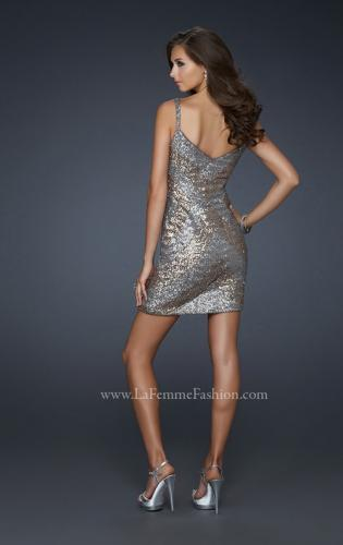 Picture of: Two Toned V Neck Short Dress with V Back, Style: 17077, Back Picture