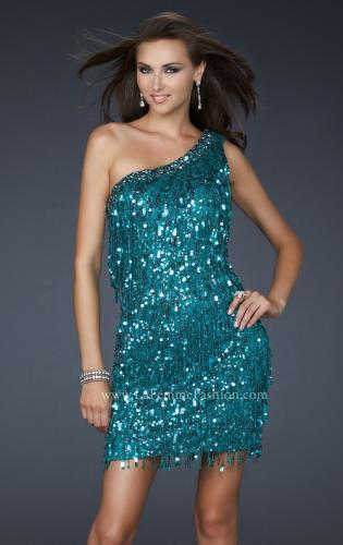 Picture of: Sexy Cocktail Dress with One Strap Cut and Sequins, Style: 17093, Main Picture