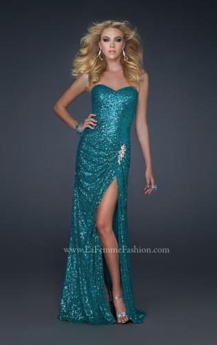 Picture of: Long Sequined Prom Dress with Sweetheart Neck and Slit, Style: 17104, Detail Picture 1
