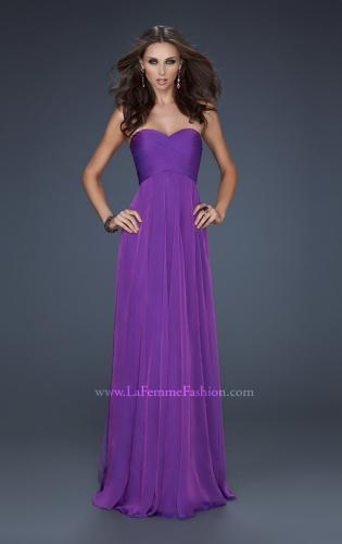 Picture of: Classic Long Chiffon Prom Gown with Pleated Detail, Style: 17111, Detail Picture 1