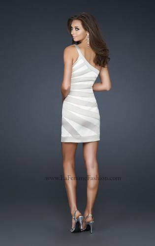 Picture of: Stretch Satin Short Dress with One Shoulder Detail, Style: 17134, Back Picture