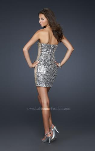 Picture of: Strapless Sequined Cocktail Dress with Nude Side Panels, Style: 17136, Back Picture