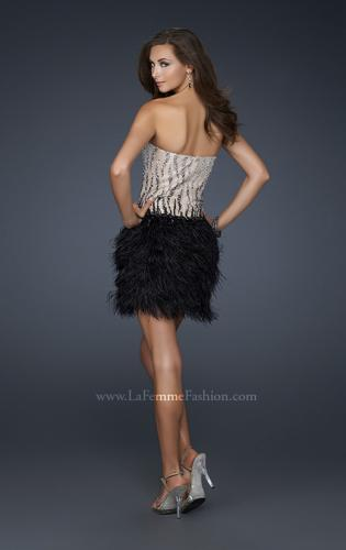 Picture of: Short Feather Cocktail Dress with Sequined Bodice, Style: 17151, Back Picture