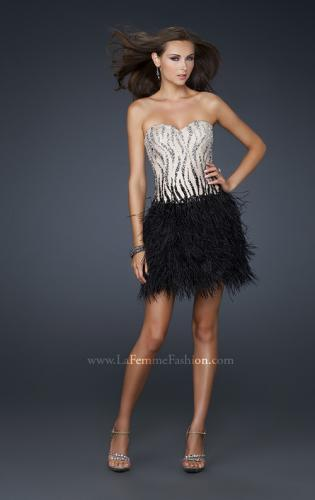 Picture of: Short Feather Cocktail Dress with Sequined Bodice, Style: 17151, Detail Picture 1