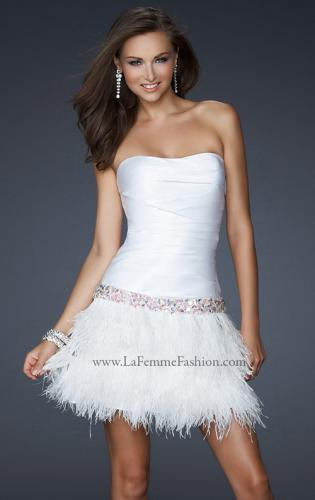 Picture of: Strapless Short Dress with Satin Top and Feather Skirt, Style: 17152, Main Picture