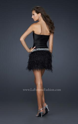 Picture of: Strapless Short Dress with Satin Top and Feather Skirt, Style: 17152, Back Picture