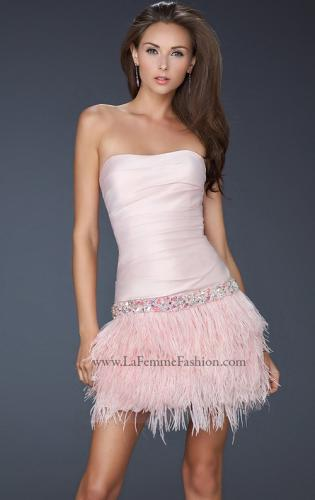 Picture of: Strapless Short Dress with Satin Top and Feather Skirt, Style: 17152, Detail Picture 2
