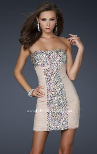 Picture of: Strapless Net Cocktail Dress with Rhinestone Accents, Style: 17156, Main Picture