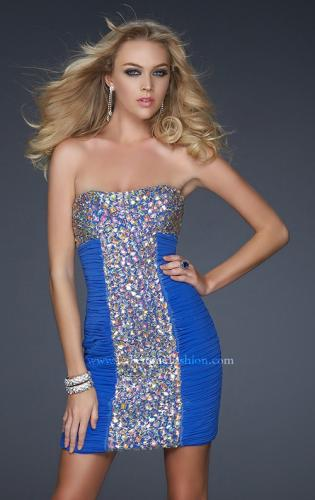 Picture of: Strapless Net Cocktail Dress with Rhinestone Accents, Style: 17156, Detail Picture 2