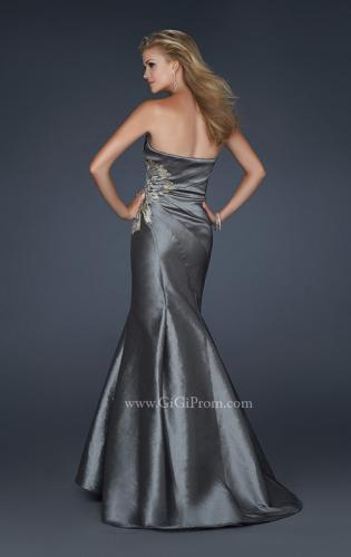 Picture of: Long Mermaid Taffeta Gown with Hip Embellishment, Style: 17234, Back Picture