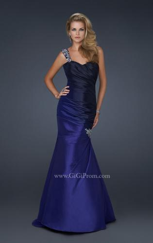 Picture of: Two Tone Taffeta Mermaid Gown with Pleated Detail, Style: 17235, Main Picture