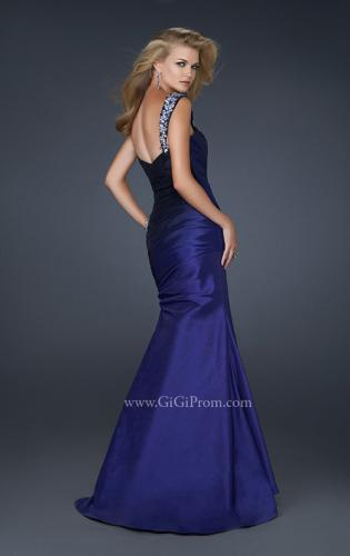 Picture of: Two Tone Taffeta Mermaid Gown with Pleated Detail, Style: 17235, Back Picture