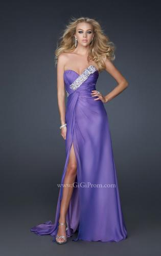 Picture of: Front Slit Long Prom Dress with Pleated Bust and Beads, Style: 17312, Main Picture