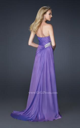 Picture of: Front Slit Long Prom Dress with Pleated Bust and Beads, Style: 17312, Back Picture